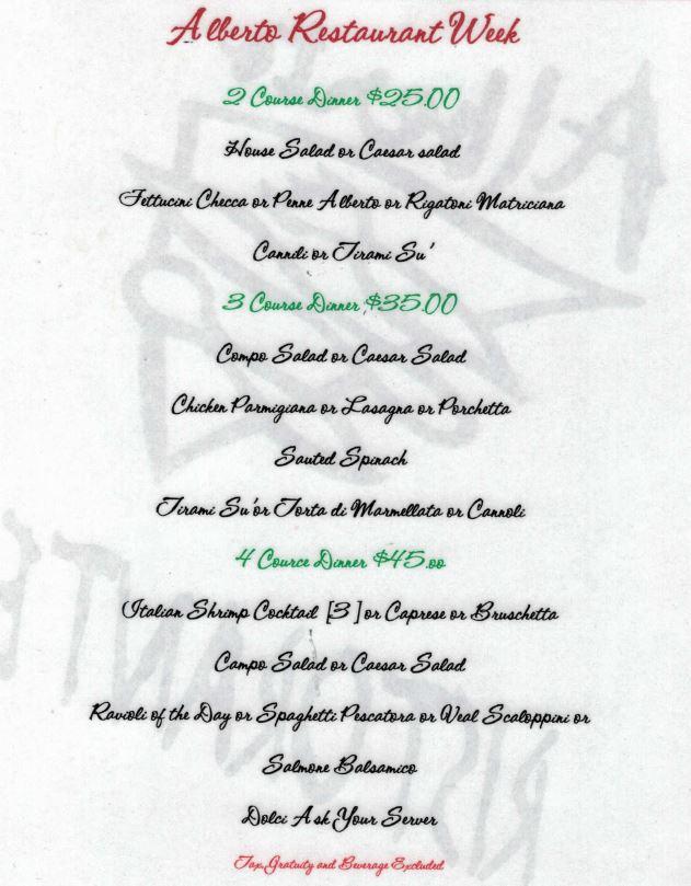 Alberto's CArefree Restaurant Week Menu