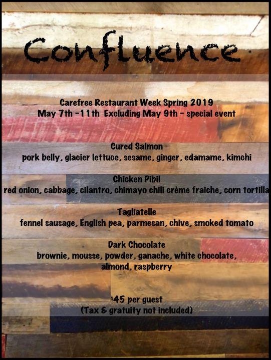 Confluence Menu for Carefree Restaurant Week