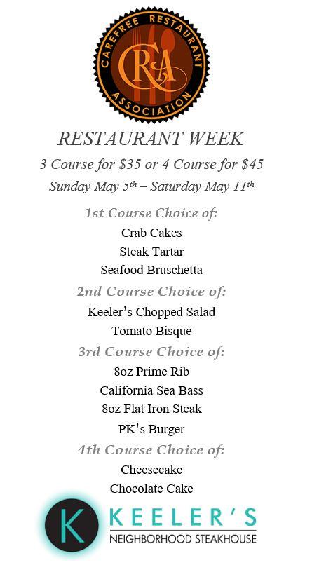 Keelers Steakhouse Restaurant Week Menu Carefree