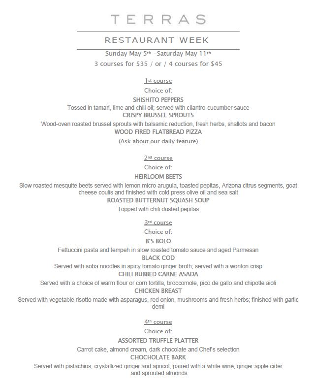Terra's Carefree Restaurant Week menu