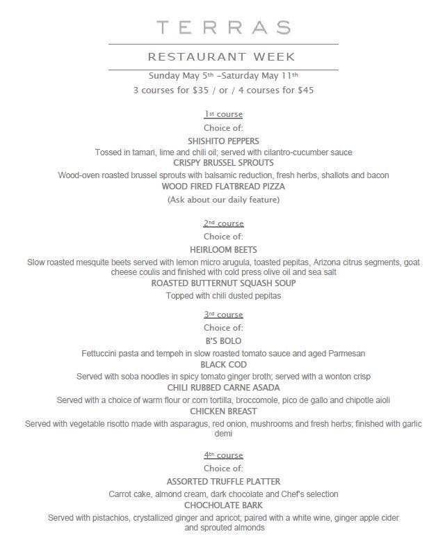 Terra's Carefree Restaurant Week menu