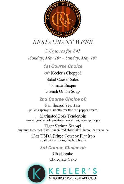 Keelers restaurant menu