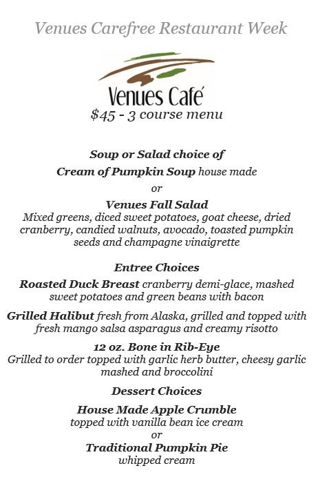 Venues Carefree Restaurant Week menu